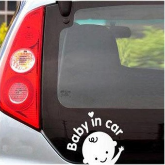 Baby In Car Waving Baby on Board Safety Sign Car Decal / Sticker - intl
