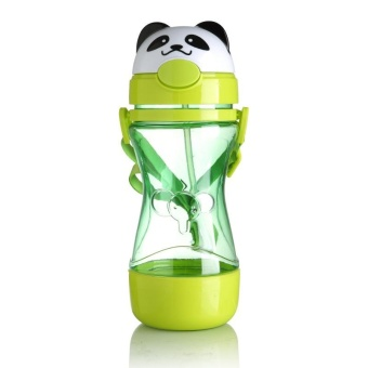 Baby Kids Animal Straw Water Bottle Drink Water Cup 450ml Cute Water Juice Training Bottle with Sling Children Gift - intl