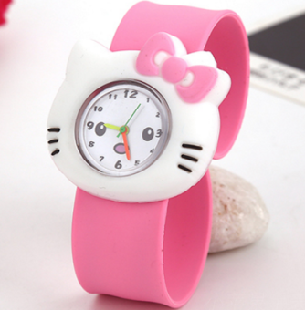 Baby silicone boy's girl's slap bracelet student's watch Pat table