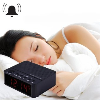 Baffect Wireless Desktop Bluetooth Alarm Clock Stereo Speaker with FM Radio Supported TF Card (Black)(...) - intl