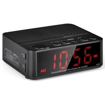 Baffect Wireless Desktop Bluetooth Alarm Clock Stereo Speaker with FM Radio Supported TF Card (Black)(...) - intl - 2