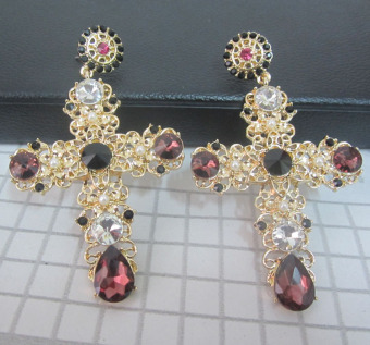 Baluoke European and American luxury color gem stud cross earrings