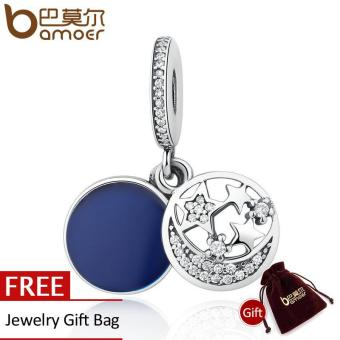 BAMOER Authentic 925 Sterling Silver Blue Round Pendant Moon &STARS Charms fit Bracelet Beads & Jewelry Makings PSC021 - intl