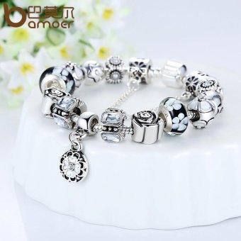 BAMOER Original 925 Silver Black Round Charm Bracelet with SafetyChain for Women Luxury Jewelry PA1854 - 4