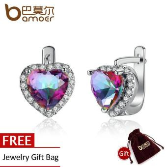 BAMOER Romantic Platinum Plated Purple Colorful Zircon Heart CutDangle Earrings for Women Wedding Jewelry Brincos JIE093-CF