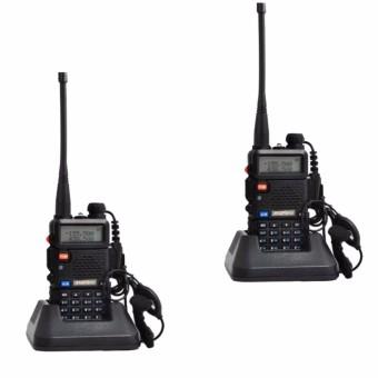 Baofeng/Pofung VHF/UHF Dual Band Two-Way Radio Set of 2(Black)Free Headset UV5R