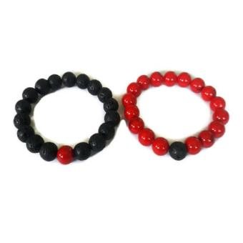Be Lucky Charms Feng Shui Couple Relationship Bracelets His and Her Lava Stone/Red Coral Bracelets