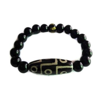 Be Lucky Charms Feng Shui Nine Eye Dzi Onyx with Protection Mantra Bracelet