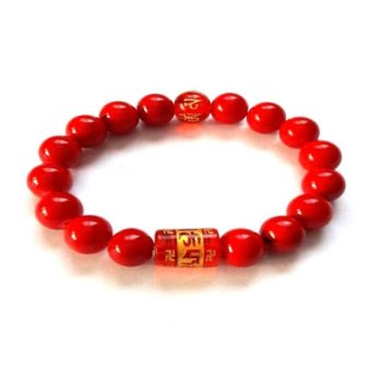 Be Lucky Charms Feng Shui Red Coral with Protection Mantra Bracelet