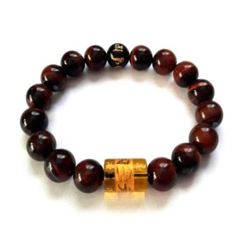Be Lucky Charms Feng Shui Red Tiger Eye with Protection Mantra Bracelet