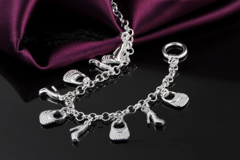 Beautiful Fashion 925 Sterling Silver Plated Charms Shoe Women Bracelet H108 - picture 4