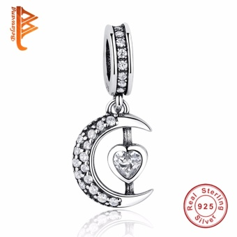 BELAWANG Moon Star Pendant Beads Fit Charms Silver 925 OriginalBracelet Fashion DIY Jewelry Making NEW Christmas Gift - intl