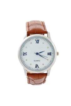 BESDEL D055 Round Dial Men's Quartz Wrist Watch with PU Band Brown