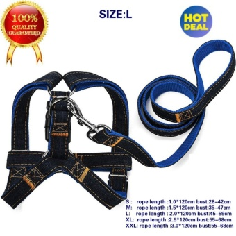 best Quality Dog Leash Harness, Adjustable Denim Dog Leash for Training Walking Running, Jean Denim Leash Harness Dog Collar Chain Cat rope for Large/Medium/Small Dog Features L (blue) - intl