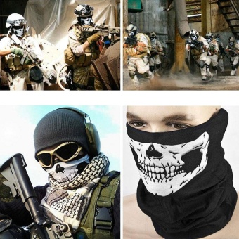 Bike Motorcycle Outdoor Scarf Neck Face Mask Headscarf Warmer Skull Pattern - intl