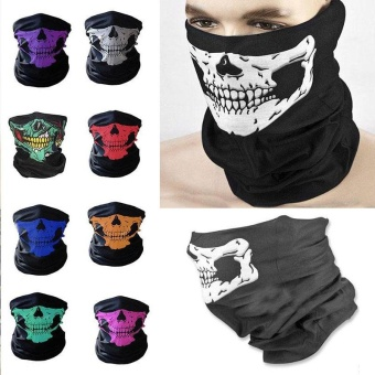 Bike Motorcycle Outdoor Skiing Scarf Neck Face Mask Headscarf Skull Pattern - intl