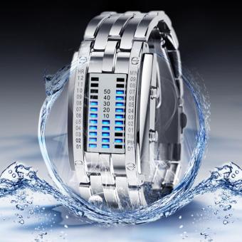 Binary Matrix Blue LED Waterproof Digital Wrist Watch Silver for Women - 3