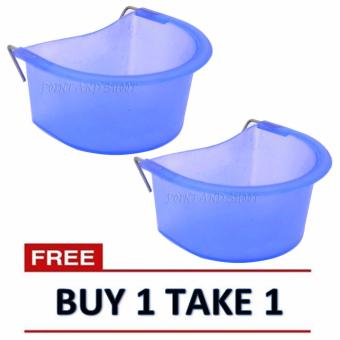 Bird Water/Food Feeder for Bird Cage (5x12x9cm) - Clear Blue