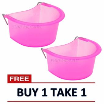 Bird Water/Food Feeder for Bird Cage (5x12x9cm) - Clear Pink