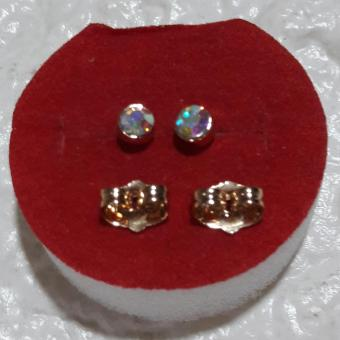 Birthstone Stud Earring Clear Crystal White ( April ) hypoallergenic