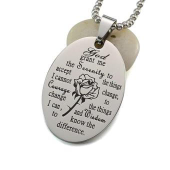 Black Enamel Silver Tone Stainless Steel English Serenity PrayerDog Tag Pendant Necklace 60 CM - intl