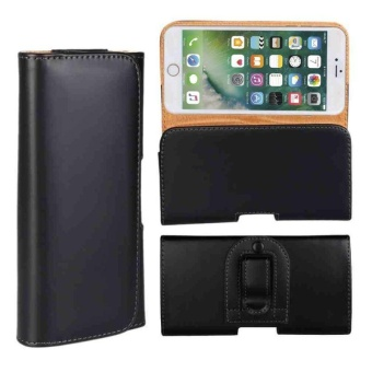 Black Glossy PU Leather Belt Clip Holster Case Pouch Cover fits for iPhone 7 - intl