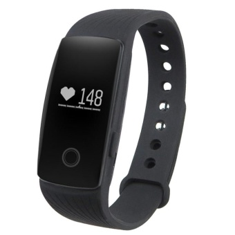 Black ID107 Smart Watch with Heart Rate Monitor Pedometer Remote Camera Function - intl