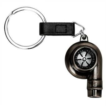 Black Metal Car Turbo Keychain Turbine Key Chain Ring Real WhistleSound - intl