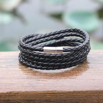 Black New Fashion 5 layer Leather Bracelets charm Bangle Handmade Round Rope Turn Buckle Bracelet For Women Men Low Price - intl - 3