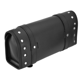 Black PU Leather Motorcycle Motorbike Front Rear Fork Tool BagHandlebar Bags Luggage Saddlebag - intl - 4