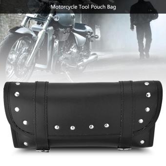 Black PU Leather Motorcycle Motorbike Front Rear Fork Tool BagHandlebar Bags Luggage Saddlebag - intl - 5