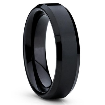 Black Tungsten Carbide Men's Ring Wedding Engagement Ring for Man Jewelry 6mm Wide Anillos - intl