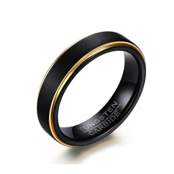 Black Tungsten Rings for Men 5MM Thin Gold-color Wedding Rings for Male Jewelry - intl