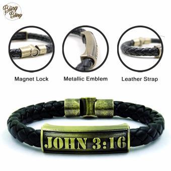 """Bling Bling """" John 3:16"""" Leather Bracelet (Black)"""