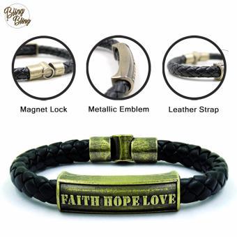 """Bling Bling """"Faith Hope Love"""" Leather Bracelet (Black)"""