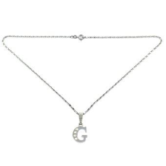 Bling Bling Alphabet Necklace Letter G (Silver) - 2