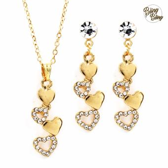 Bling Bling Cacey Earrings and Necklace Jewelry Set (Gold)