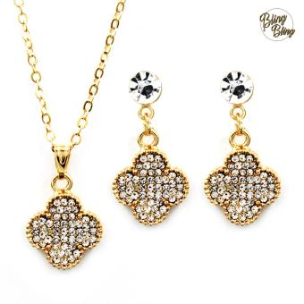 Bling Bling Flora Earrings and Necklace Jewelry Set (Gold)