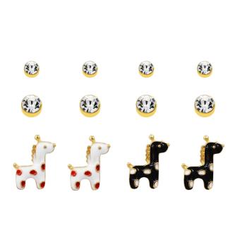 Bling Bling Giraffe Gold Earrings Pair of 6