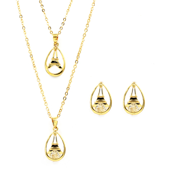 Bling Bling layered Eiffel Necklace with Earrings Jewelry Set (Gold)