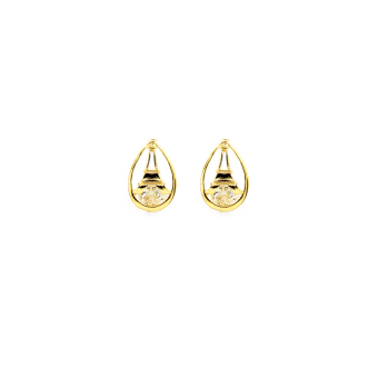 Bling Bling layered Eiffel Necklace with Earrings Jewelry Set (Gold) - 2