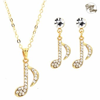 Bling Bling Note Earrings and Necklace Jewelry Set (Gold)