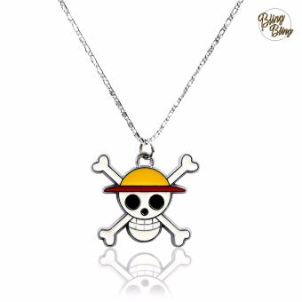 Bling Bling One Piece Straw Hat Pirates Jollyroger Fashionable Pendant Necklace (Silver)