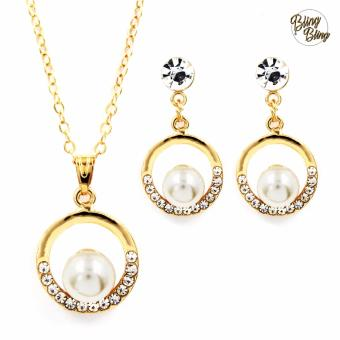 Bling Bling Orient Pearl Earrings and Necklace Jewelry Set (Gold)