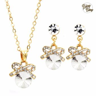 Bling Bling Ribbon in Gem Earrings and Necklace Jewelry Set (Gold)