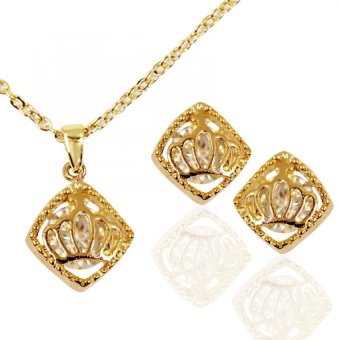 Bling Bling Scarlett Crown Diamond Earrings and Necklace (Gold)