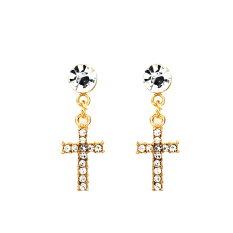 Bling Bling Thin Cross Earrings and Necklace Jewelry Set (Gold) - 3