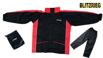 Blitzkrieg(R) MJ-Series MJ-08 Motorcycle Ultra Durable RainCoat &Jacket Set With Pants Touring (Red)