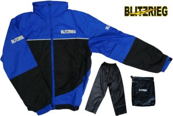 Blitzkrieg(R) MJ-Series MJ-55 Motorcycle Ultra Durable RainCoat &Jacket Set With Pants Touring (Blue)