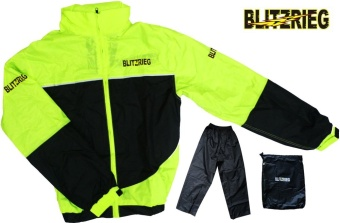 Blitzkrieg(R) MJ-Series MJ-55 Motorcycle Ultra Durable RainCoat &Jacket Set With Pants Touring (Neon Green)